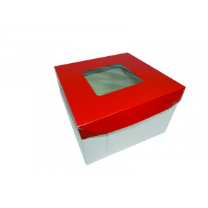 "Square Cake Box  - Red (8""x8""x5"", pack of 100s)"