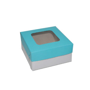 "Cupcake Box by 4s - Blue (6""x6""x3"", pack of 100s)"