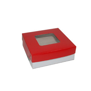 "Square Cake Box  - Red (7""x7""x2.5"", pack of 100s)"