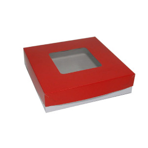 "Square Cake Box  - Red (8""x8""x2"", pack of 100s)"