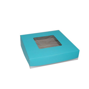 "Square Cake Box  - Blue (9""x9""x2"", pack of 100s)"